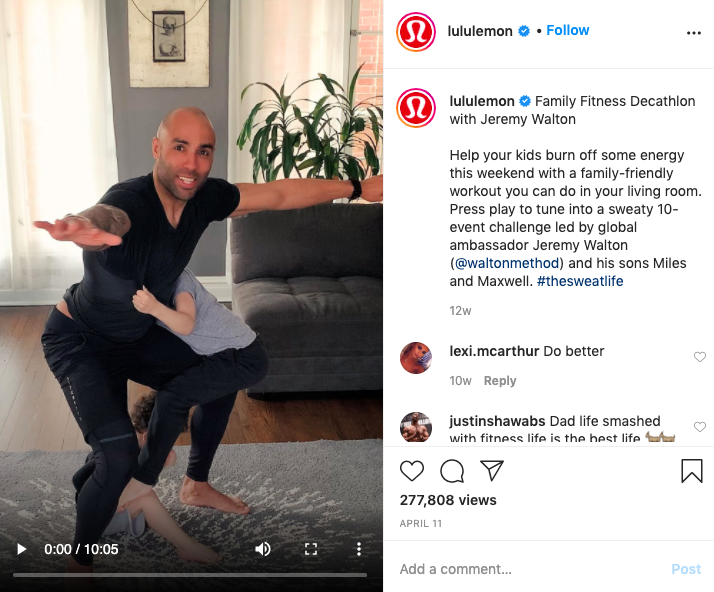 Lululemon instagram screenshot of at-home workouts with dad and son